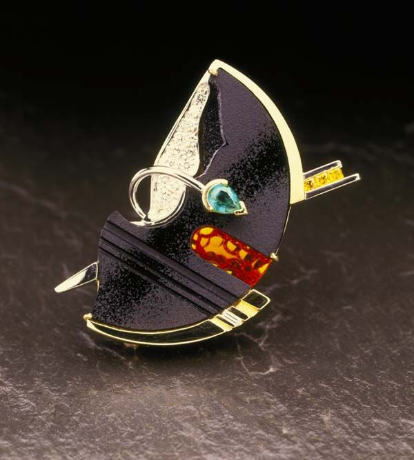 Pendant   David Liska. Black onyx drusy, fire opal, platinum, 18k gold, diamonds...