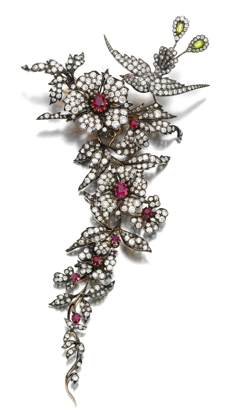 RUBY AND DIAMOND DEVANT DE CORSAGE, LATE 19TH CENTURY.  Designed as an articulat...