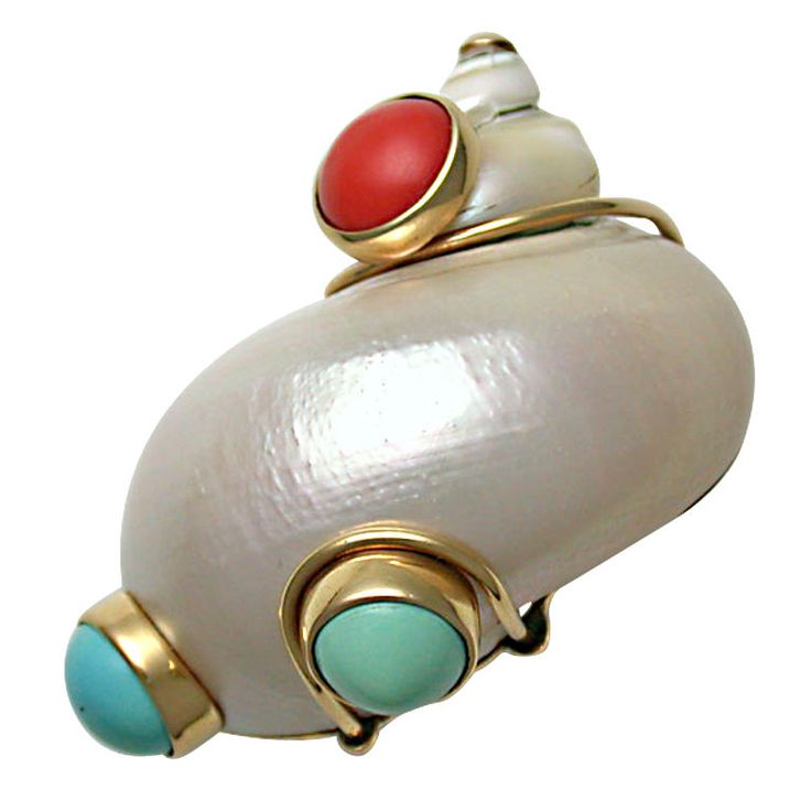 SEAMAN SCHEPPS Shell, Coral & Turquoise Brooch