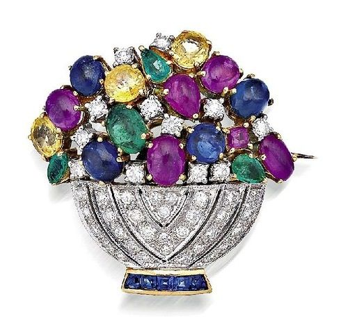 Stunning Antique Brooch set with Diamonds, Emeralds, Sapphires and Rubies #Antiq...
