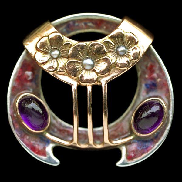 THEODOR FAHRNER -  Superb Secessionist Brooch. Silver Gold Enamel Amethyst Pearl...