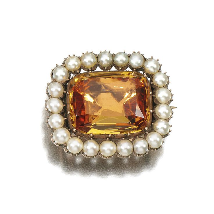 Topaz and half seed pearl brooch, Early 19th Century