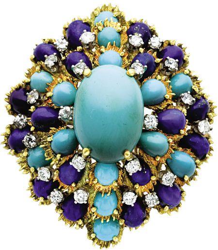 Turquoise, Diamond, Lapis Lazuli, Gold Clip-Brooch, circa 1960