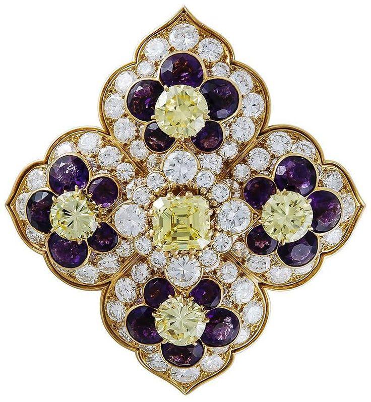 9a10ab320ff Brooches Jewels   Van Cleef   Arpels Amethyst Diamond Gold Brooch ...