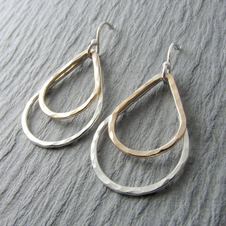 Silver and Gold Earrings Teardrop Earrings by RhondaLynneJewelry