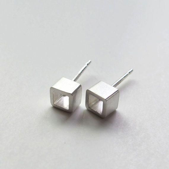 Tiny Open Square Studs. Modern Sterling Silver Earrings by WROXdesign