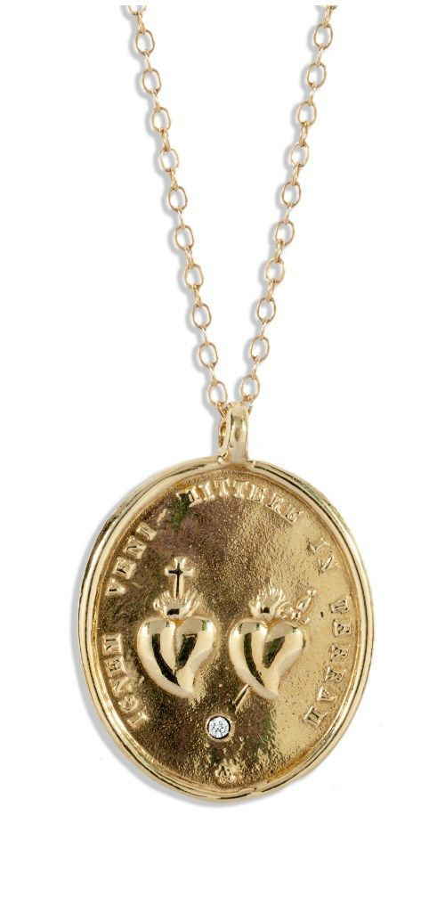 The sacred heart necklace by DRU Jewelry. In gold, with diamonds. At The Jewelry...
