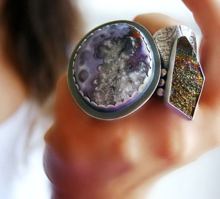 Agua Nueva Agate and Rainbow Pyrite Druze Sterling Rings