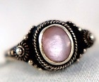 Antique 1920's Art Deco Sterling Silver Repousse Studded Mother of Pearl Rin...