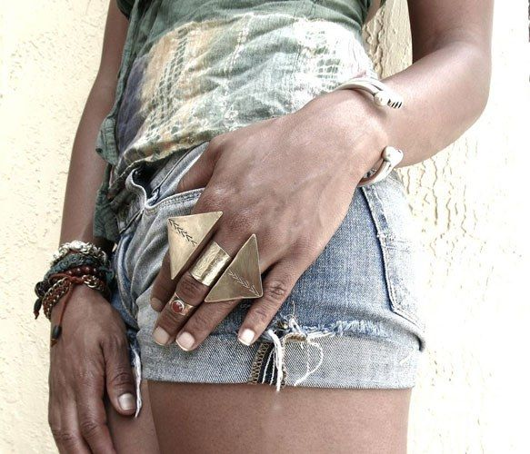 Brass Arrow Knuckle Cuff