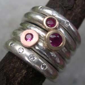 Designer ruby engagement rings and diamond rings.