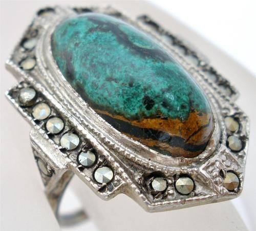 Handmade Sterling Silver High Grade Green Varascite Marcasite 7 5 Ring Vintage |...