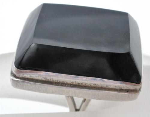 Huge Handmade 950 Sterling Silver Black Onyx Size 7 5 Taxco Estate Ring Vintage ...