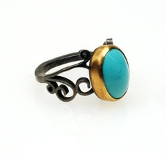 Natasha Wozniak--Turquoise Filigree Ring