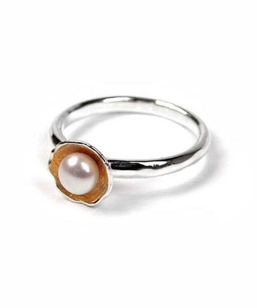 POM Sterling silver ring with white Pearl
