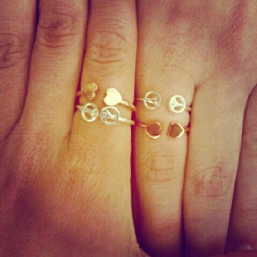 Peace of my heart #mykitsch #peace #heart #hands #friends #ring #rings #jewelry ...