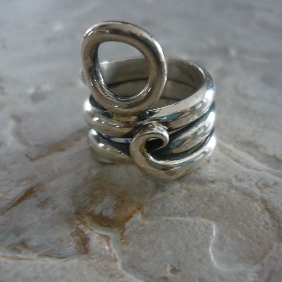 Sterling silver wire wrapped wide, chunky organic  ring.