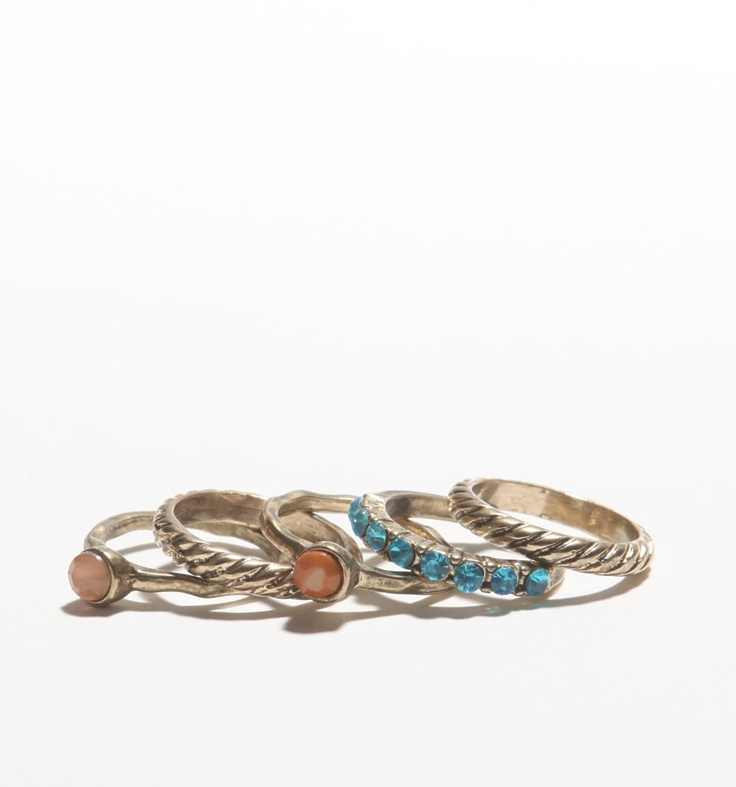 With Love From CA Jewel Tone Ring Set - $8.50 at PacSun