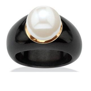 Yellow Gold Black Jade and White Freshwater Pearl Ring by Angelina D'Andrea $67....