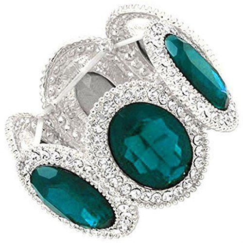 Crystal Stretch Bracelet C52 Blue Clear Cocktail Silver T... www.amazon.com/...