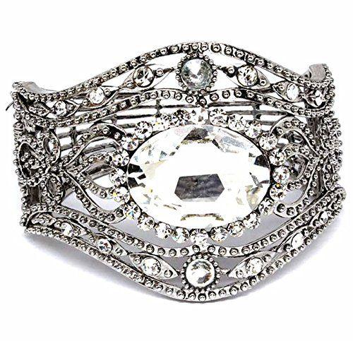 Cuff Bracelet Hinged Crystals BJ Evening Bridal Antiqued ... www.amazon.com/...
