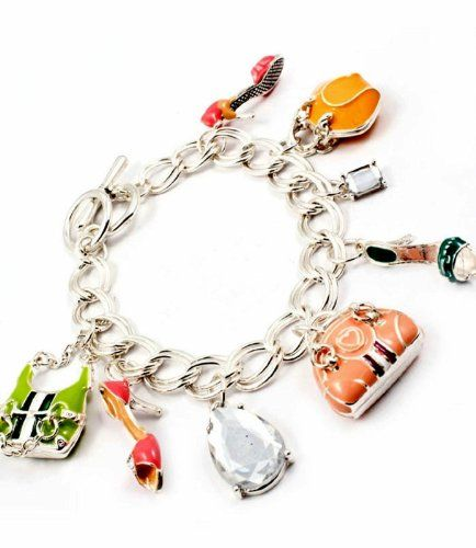 Fashion Charm Bracelet Z10 Shoe Handbag Pink Coral Blue G... www.amazon.com/...
