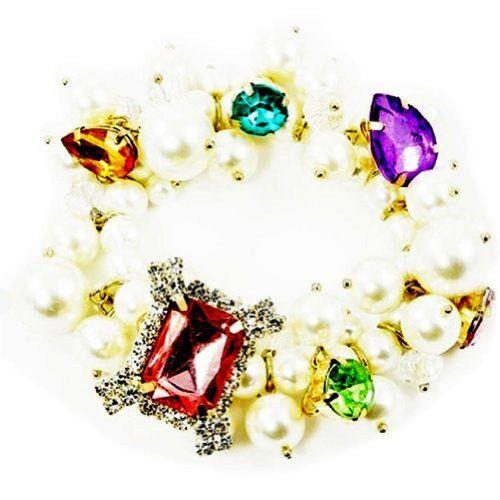 Gorgeous Pearl Stretch Bracelet Z38 Crystal Multi Colored... www.amazon.com/...