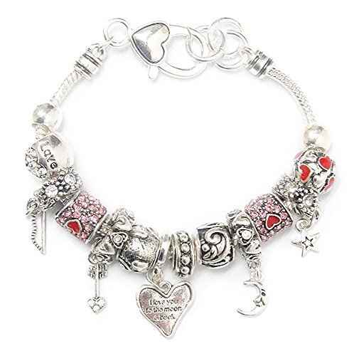 Love Charm Bracelet Z11 Clear Pink Crystal Heart Moon and... www.amazon.com/...