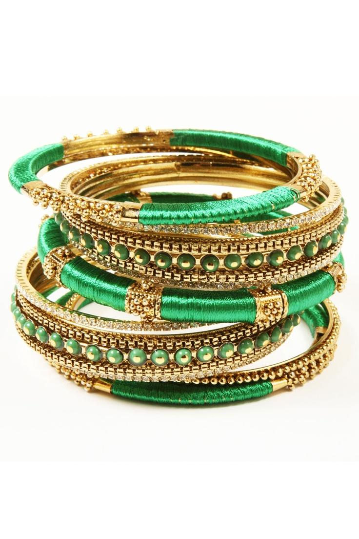 Amrita Singh Rupal Spring Bracelet Set In Emerald