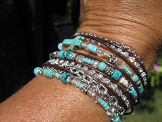 Boho  TURQUOISE  Endless Leather   Wrap Bracelet by fleurdesignz.etsy...