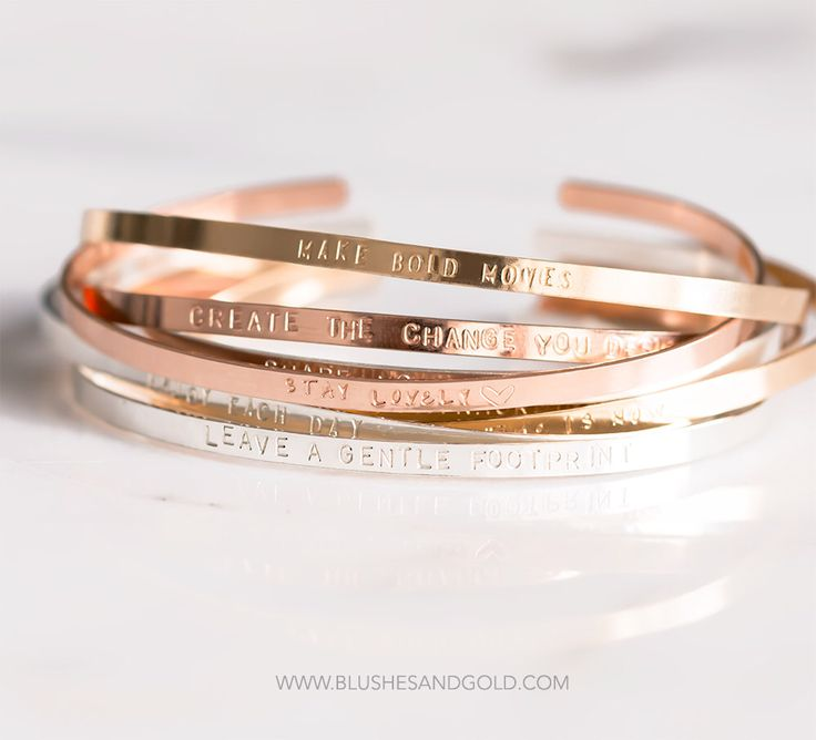 aa28034dc7a Bracelet Cuff, Personalized Cuff in Gold, Sterling Silver, Rose Gold-filled,