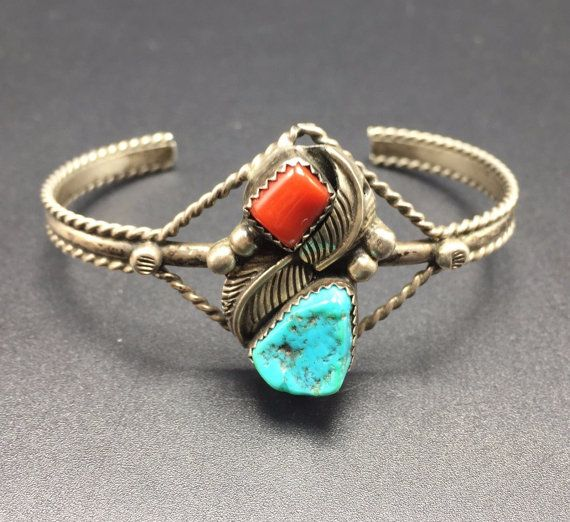 Delicate Vintage NAVAJO Sterling Silver CORAL by TurquoiseKachina