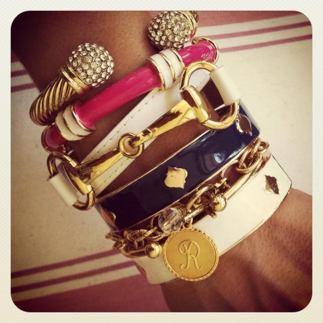Nautical stack with Regatta & Spade bangles, Nimes cable cuff, white Derby brace...