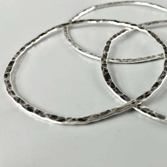 Sterling Silver Bangle Bracelets - wear just three or stack a ton, simple bangle...