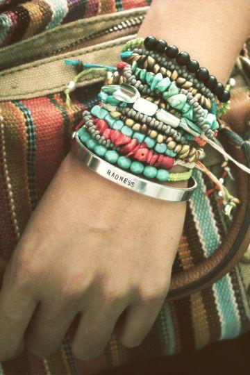 stacks of bracelets.