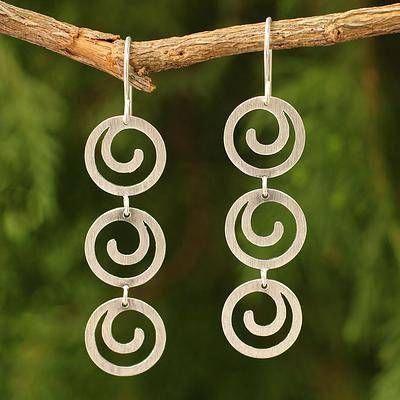 Handcrafted Modern Sterling Silver Dangle Earrings - Energy | NOVICA #sterlingsi...