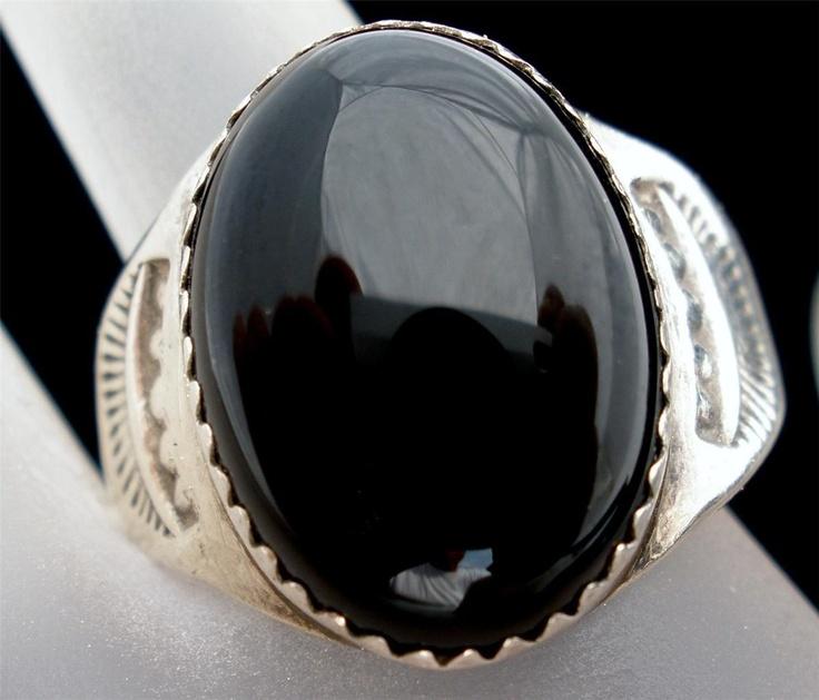 Handmade Sterling Silver Large Black Onyx Size 10 Heavy Estate Ring Vintage | eB...