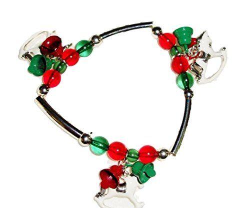 Christmas Stretch Charm Bracelet Z6 Red Green White Recyc... www.amazon.com/...