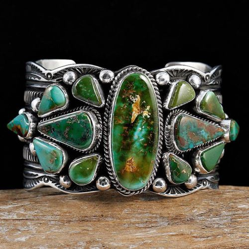 A Guy Hoskie Deep Green Royston Turquoise Bracelet Sterling Silver Navajo