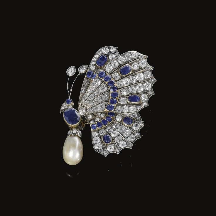 FROM THE ESTATE OF THE LATE PRINCE KINSKY. Natural pearl, sapphire and diamond b...