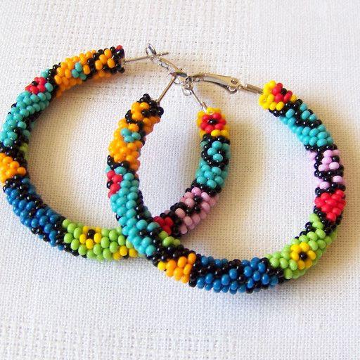 Beaded colorful hoop earrings - geometric earrings - modern art earrings - Beadw...