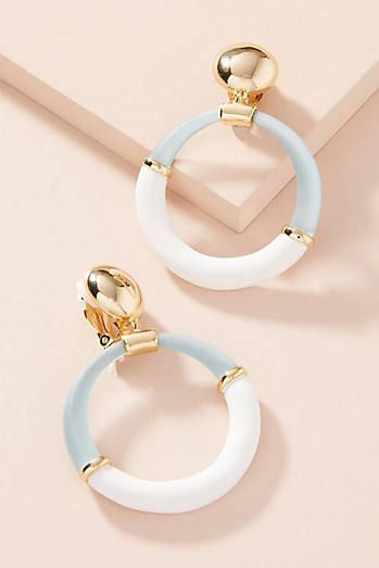Colorblock Hoop Drop Earrings |♦F&I♦