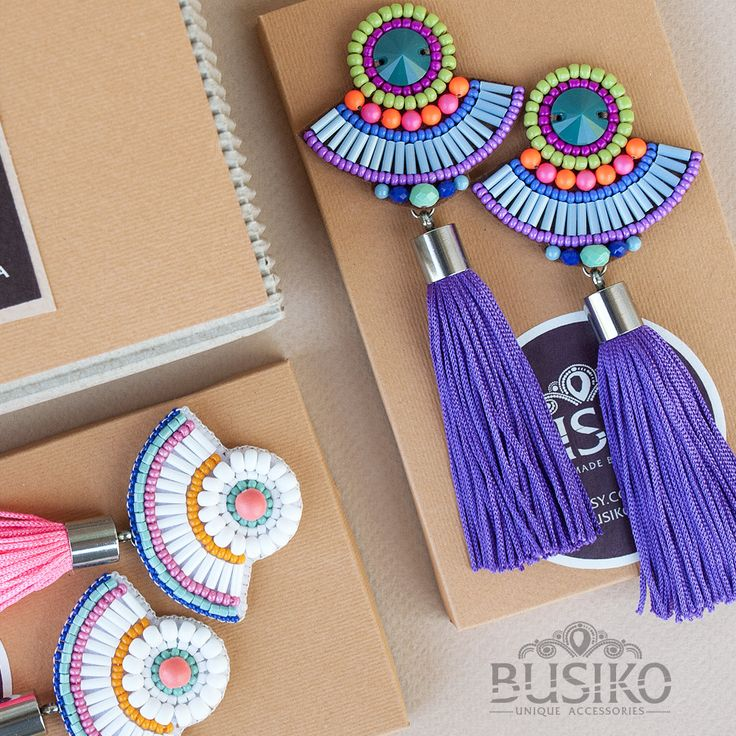 Colorful bead tassels earrings Beaded embroidered earring ethnic fashion Green b...