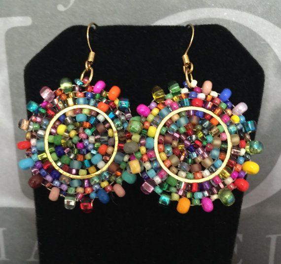 Confetti Splash Small Seed Bead Earrings - Bold Multicolored Disk Earrings | ♦...