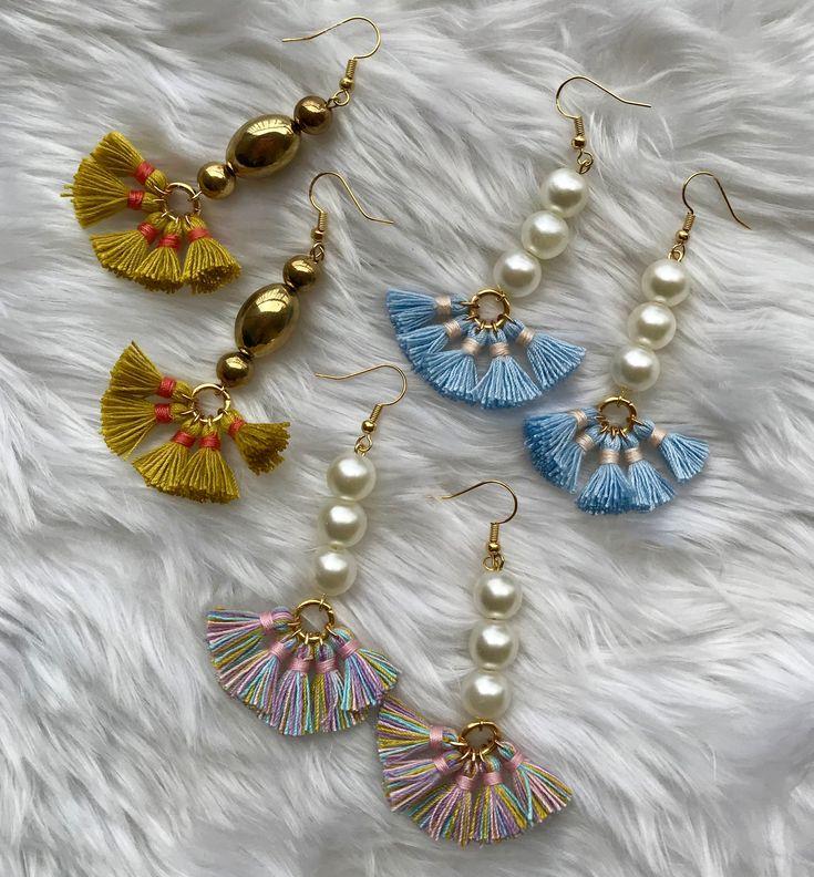 Fan tassel earrings, spring Statement earrings, multicolor fan tassel earrings |...