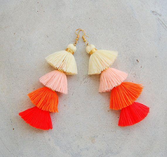 Four Layered Ombre Orange Tassel Earrings | ♦F&I♦