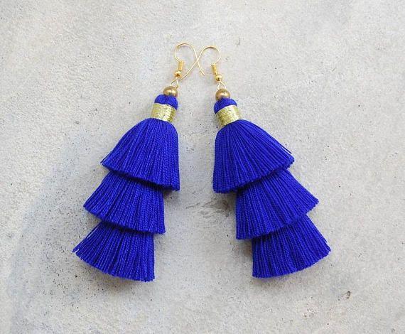 Handmade Navy Blue 3 Tiered Tassel Earrings | ♦F&I♦