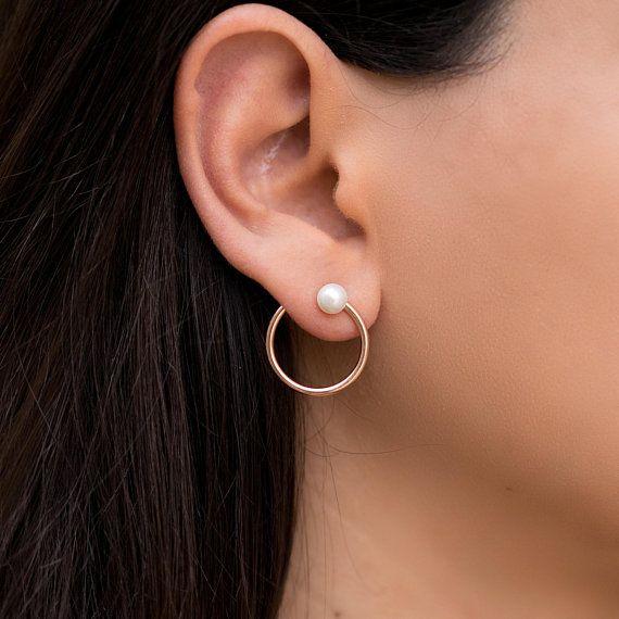 Minimalist hoop earrings, pearl stud earrings, rose gold earrings, small hoop ea...