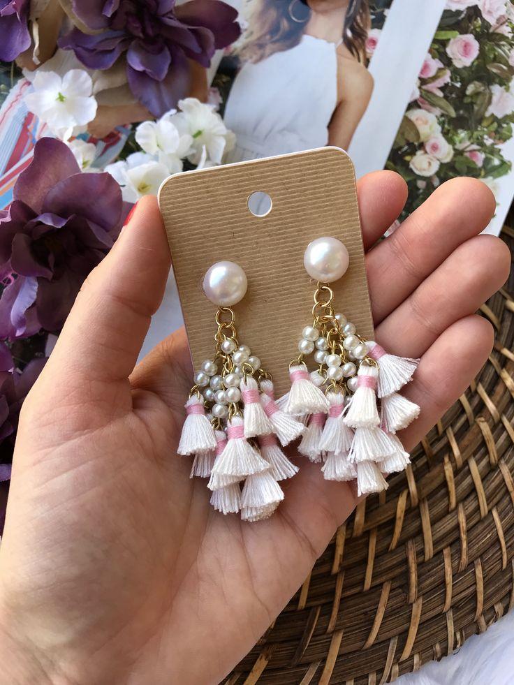 Multi Tassel Beaded Cluster Drop Earrings / Tassel Earrings /