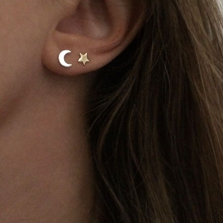 Star and Moon Stud Earrings in Silver